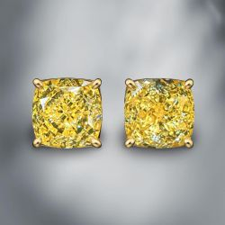 Golden Cushion Cut Yellow Sapphire Stud Earrings
