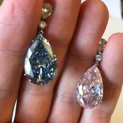 Pear Cut Blue & Pink Drop Earrings