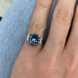 Cushion & Baguettes Cut Engagement Ring