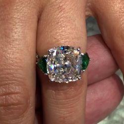 Three Stones Cushion Cut Emerald Engagement Ring