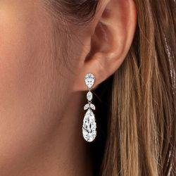 Pear Cut Drop Earrings