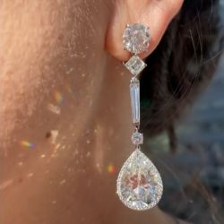 Magnificent Halo Pear Cut Drops Earrings