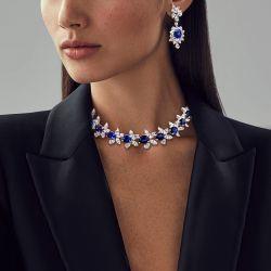 Royal Blue Cushion & Oval Cut Drop Earrings & Necklace Set