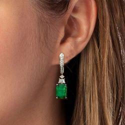 Emerald Sapphire Drop Earrings