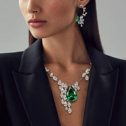 Pear & Marquise Cut Emerald Created Sapphire Necklace & Earrings