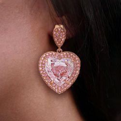 Rose Gold Heart Cut Pink Drop Earrings