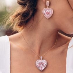 Rose Gold Heart Cut Pendent Necklace & Drop Earrings