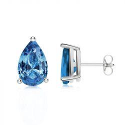 Solitaire Pear Cut Blue Stud Earrings