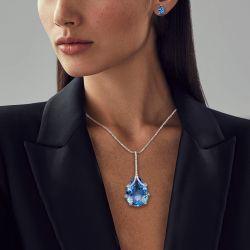 Solitaire Pear Cut Blue Necklace & Earrings Set