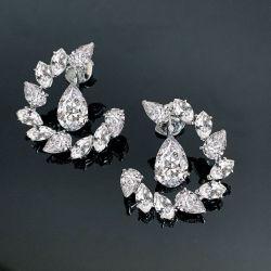 Moon Design Pear & Marquise Cut Drop Earrings