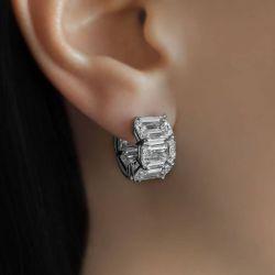 Emerald Cut Huggie Hoops Earrings