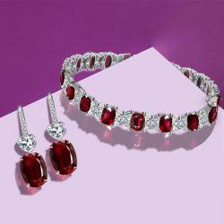 Oval Cut Ruby Bracelet & Drop Earrings