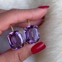 Golden Double Prong Cushion Cut Purple Drop Earrings