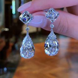 Pear & Asscher Cut Drop Earrings