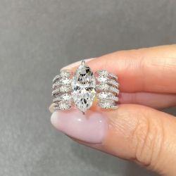 Marquise Cut Multi Split Shank Engagement Ring