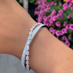 Cross Design Round & Pear Cut Bracelet