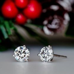 Classic Three Prong Round Cut Earrings