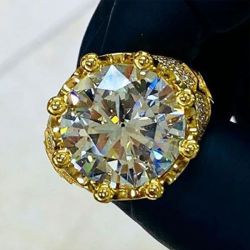 Round Cut Shape Gold Plated Engagement Ring