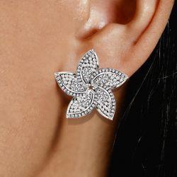 Halo Pear & Round Cut Stud Earrings