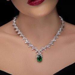 Pear & Marquise Cut Emerald Sapphire Necklace