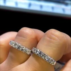 Round Cut Stackable Double Wedding Band