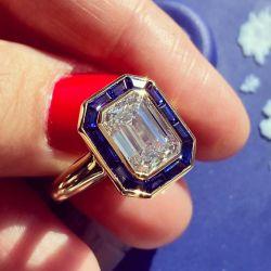 Golden Blue Halo Emerald Cut Engagement Ring