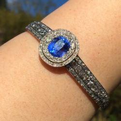 Double Halo Oval Cut Blue Sapphire Bracelet