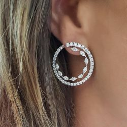 Double Circle Design Marquise & Round Cut Earrings