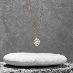 Golden Solitaire Oval Cut Pendant Necklace