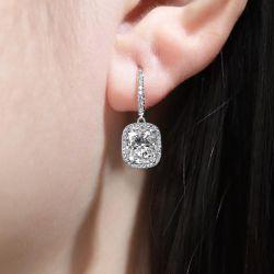 Halo Cushion Cut White Sapphire Earrings