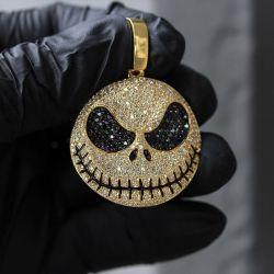 Jack Skellington White & Black Sapphire Pendant Necklace