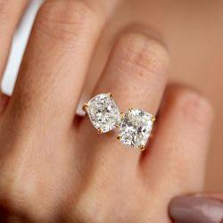 Golden Double Cushion Cut Engagement Ring