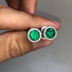 Halo Round Cut Emerald Sapphire Stud Earrings