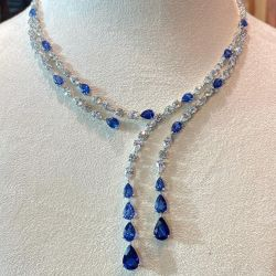 Layer Design Pear & Marquise & Round Cut White & Blue Sapphire Necklace