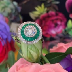 Double Halo Round Cut Emerald & White Sapphire Engagement Ring