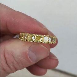 Fancy Golden Radiant Cut Yellow Sapphire Engagement Band