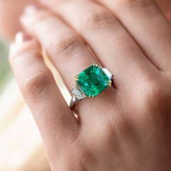 Three Stone Asscher Cut Emerald Sapphire Engagement Ring