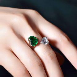 Open Design Double Heart Cut Emerald & White Sapphire Ring