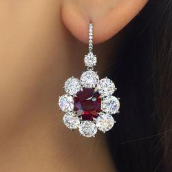 Halo Oval Cut Ruby & White Sapphire Drop Earrings
