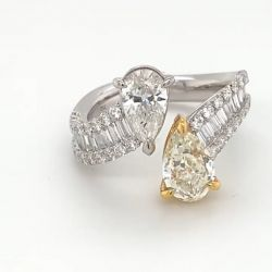 Open Design Two Tone Pear Cut Yellow & White Sapphire Engagement Ring