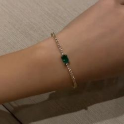 Golden Emerald & Round Cut Bracelet