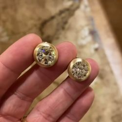 Brushed Gold Solitaire Round Cut Stud Earrings