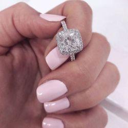 Halo Cushion Cut Engagement Ring